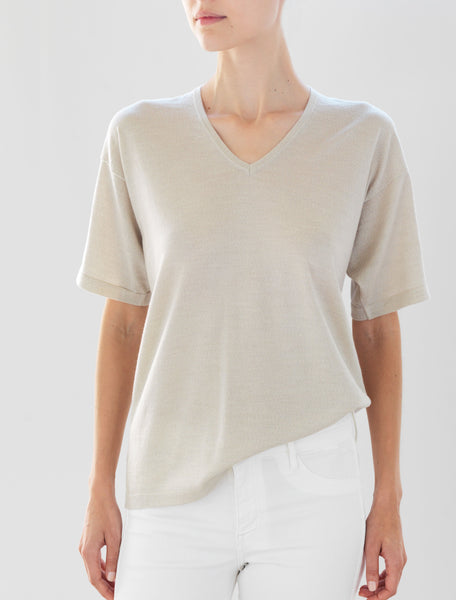 Luxo Knit T V-Neck - Oatmeal
