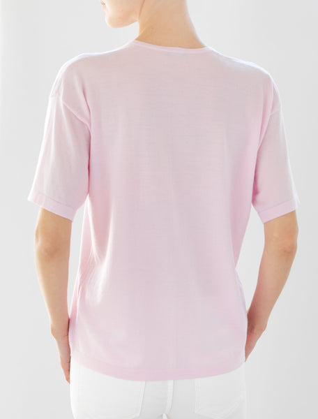Luxo Knit T V-Neck - Pale Pink