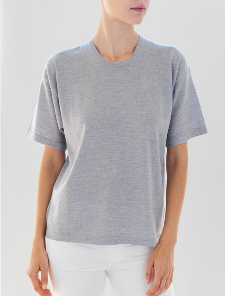Luxo Knit T Round Neck - Silver Grey