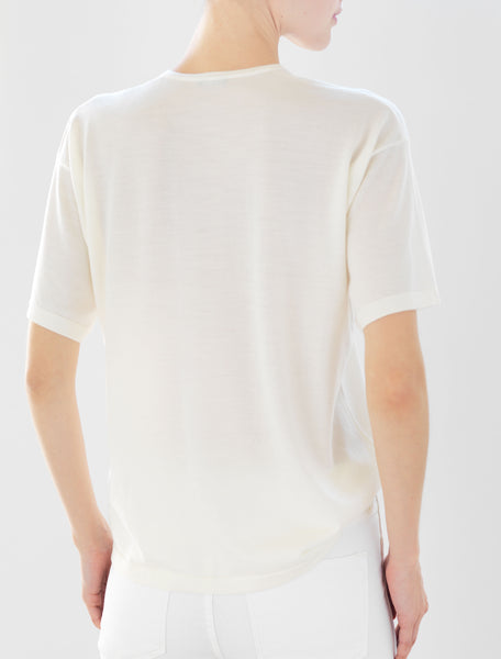 Luxo Knit T V-Neck - Winter White