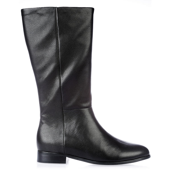Jane black leather knee high boots for women