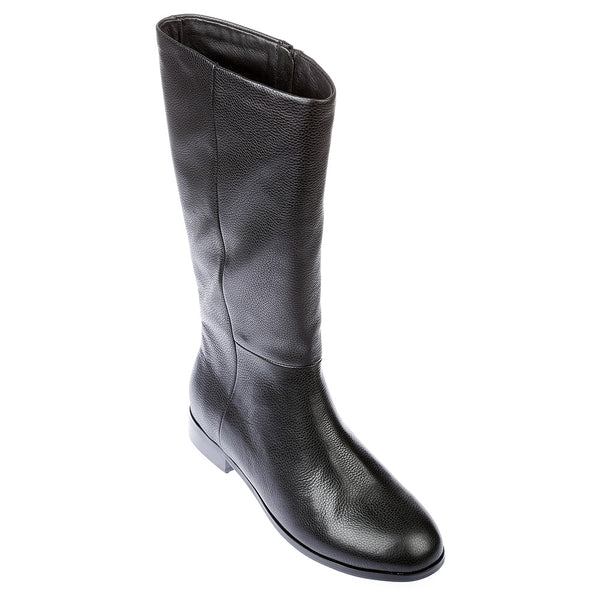 Jane black leather knee high boots for women 1