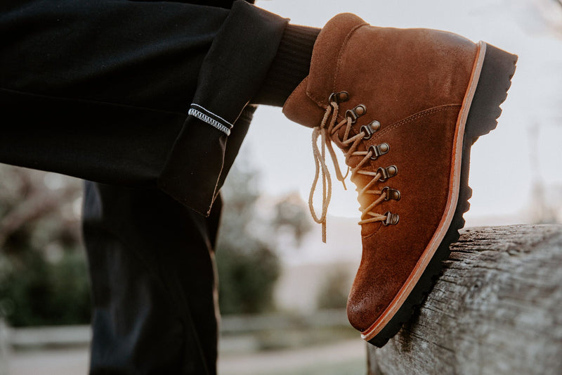 Cape cognac suede winter boots for men lifestyle 3