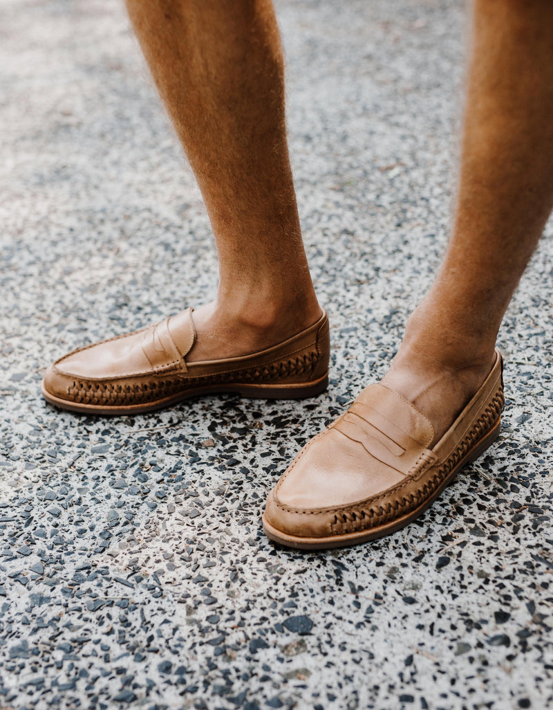 Marakesh tan leather slip on shoes for men lifestyle