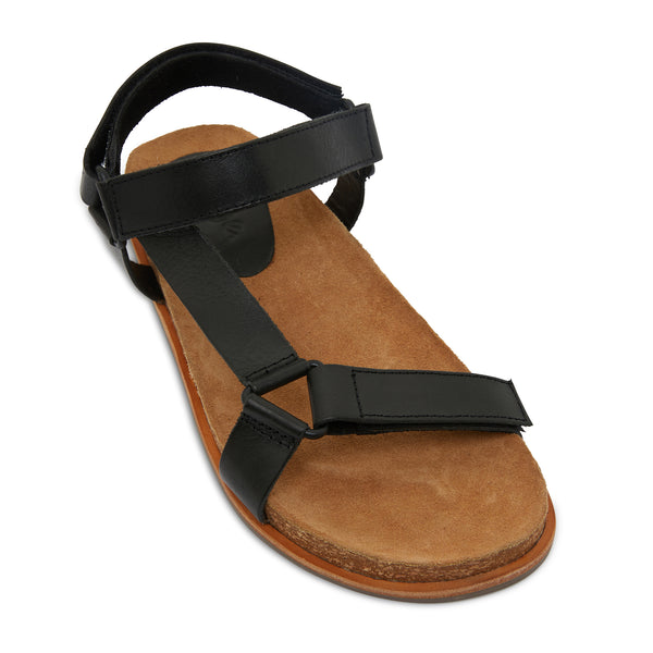 avery black leather women's sandal with molded footbed 1