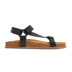 avery black leather women's sandal with molded footbed