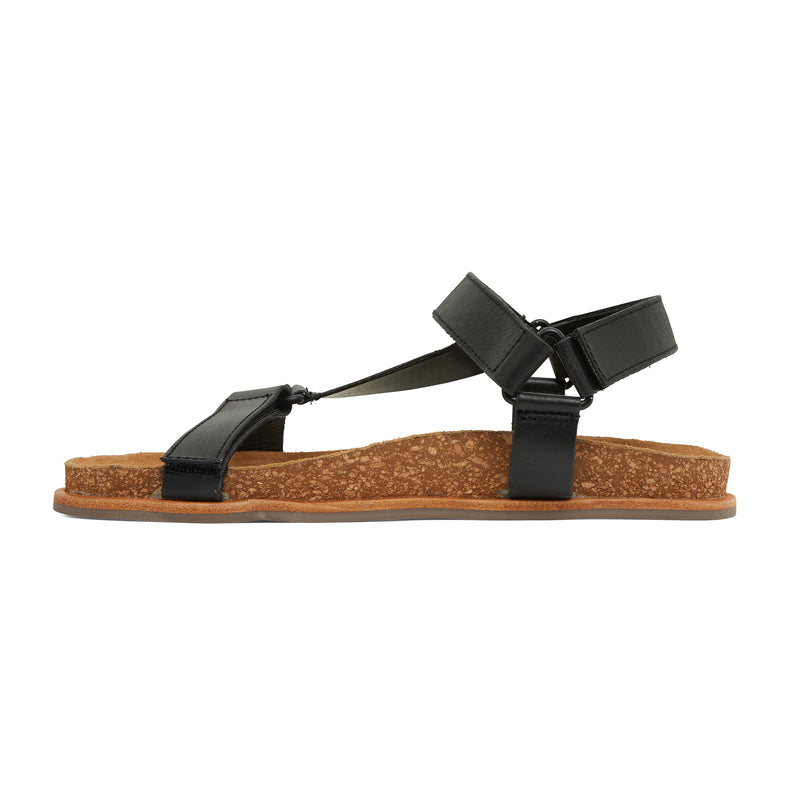 avery black leather women's sandal with molded footbed 2