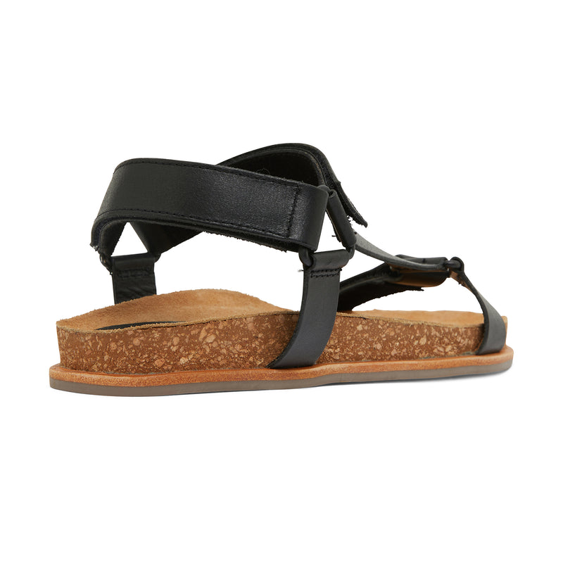 avery black leather women's sandal with molded footbed 3
