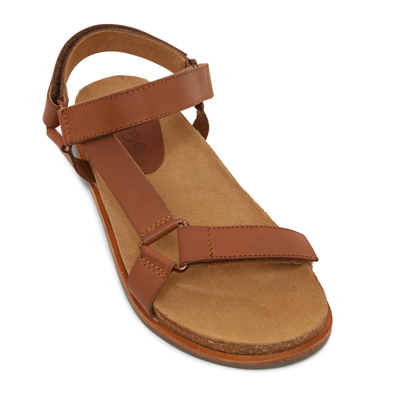 avery cognac leather women's sandal with molded footbed 1