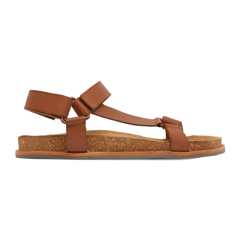 avery cognac leather women's sandal with molded footbed