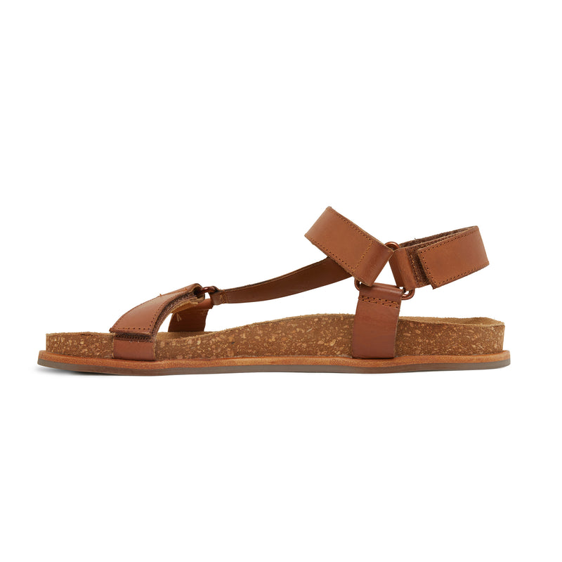 avery cognac leather women's sandal with molded footbed 2