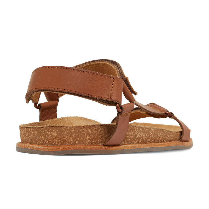 avery cognac leather women's sandal with molded footbed 3