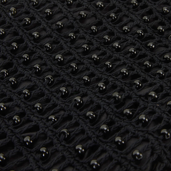 alila black cotton bag with beads close up