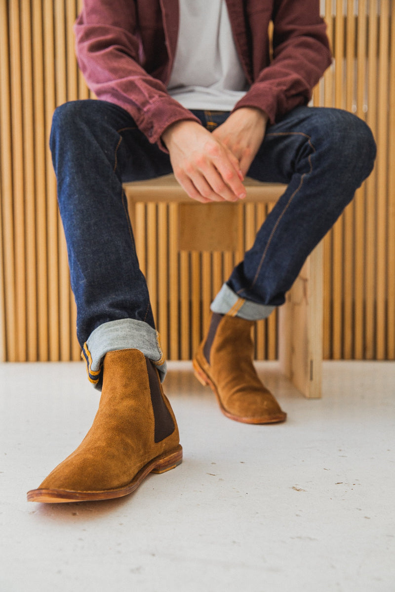 Bawley tan suede men boots lifestyle