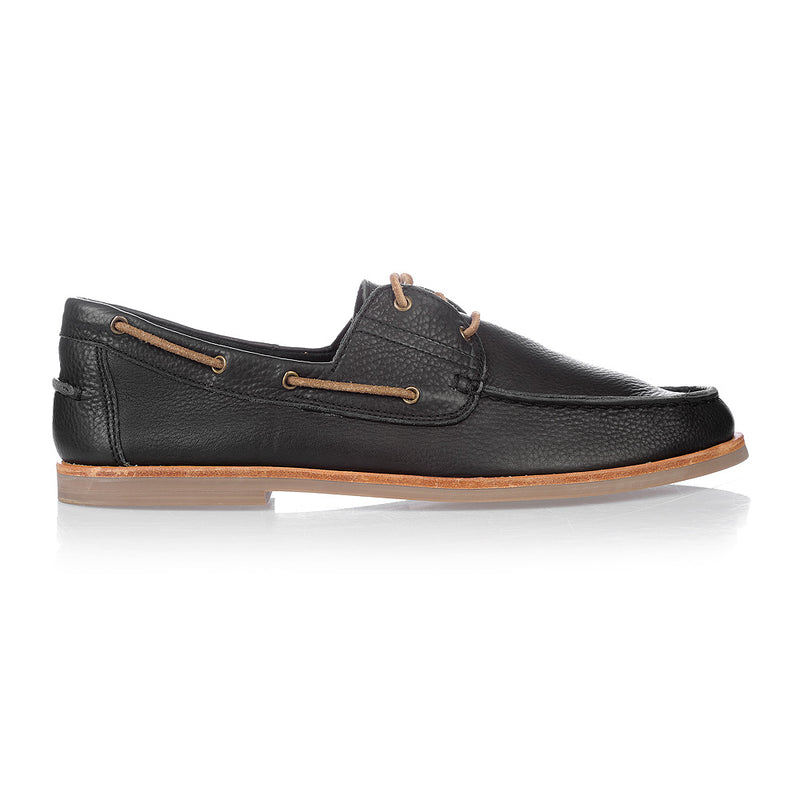 Billi black milled boat shoes for men 3