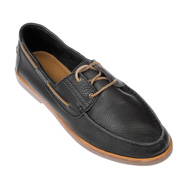 Billi black milled boat shoes for men2