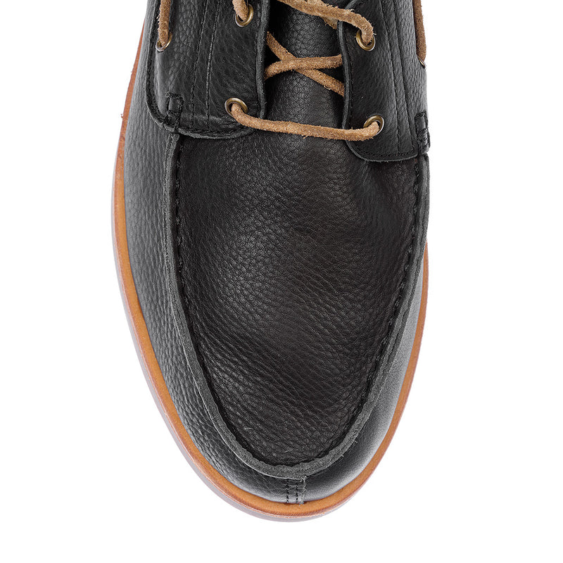 Billi black milled boat shoes for men