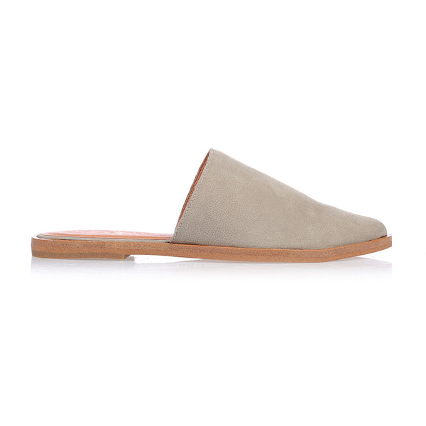 BLISS - GREY LEATHER FLAT