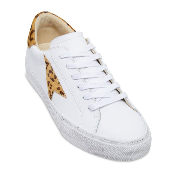 Bonni white and leopard leather womens sneaker with distresses sole 1