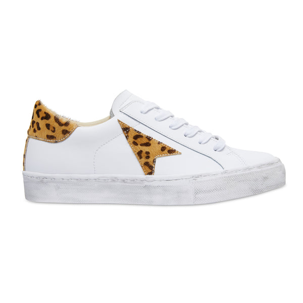Bonni white and leopard leather womens sneaker with distresses sole