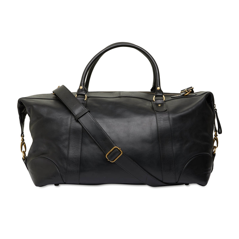 Borneo black milled leather overnight bag