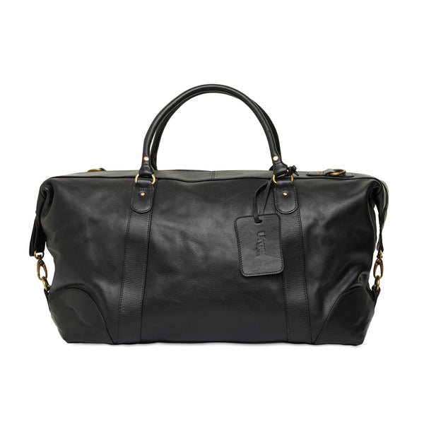 Borneo black milled leather overnight bag 1