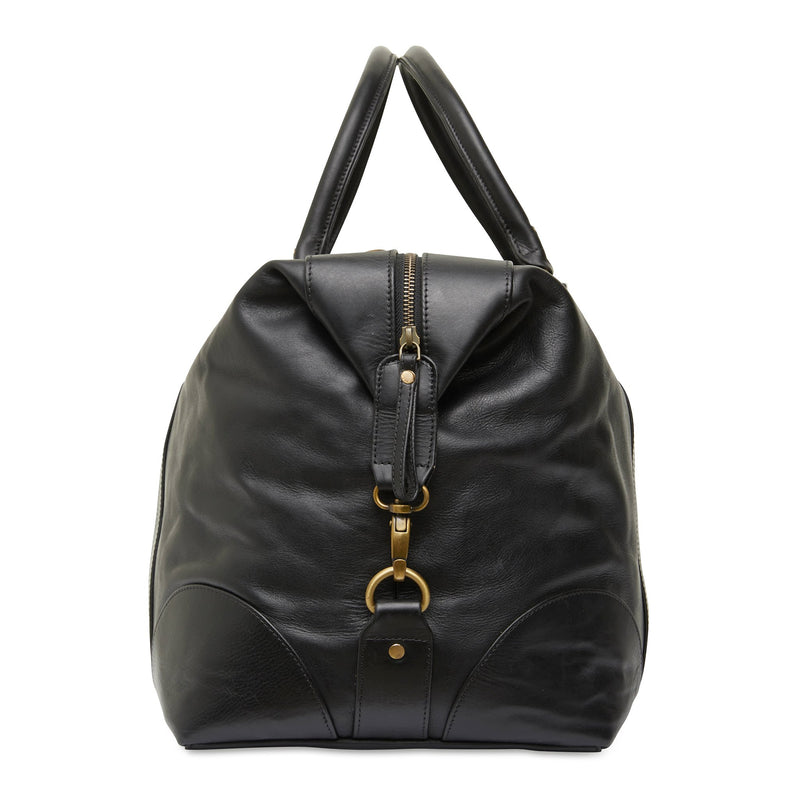 Borneo black milled leather overnight bag 2