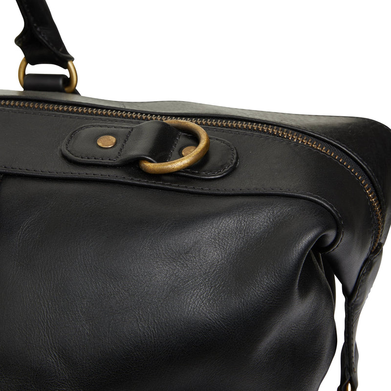 Borneo black milled leather overnight bag 3