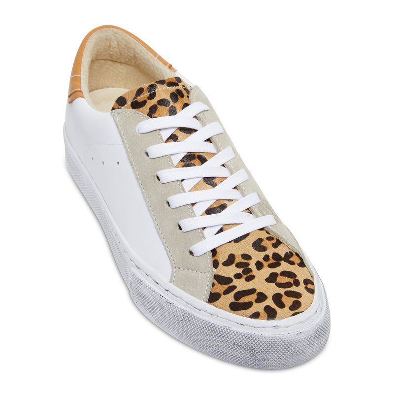 Brooke white, tan and leopard leather womens sneaker with distressed sole 1