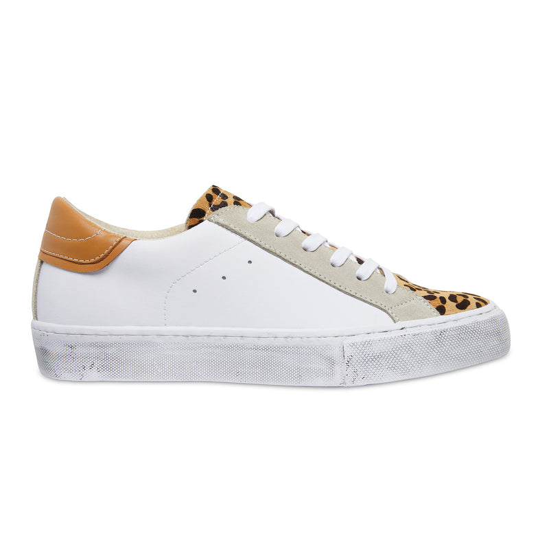 Brooke white, tan and leopard leather womens sneaker with distressed sole