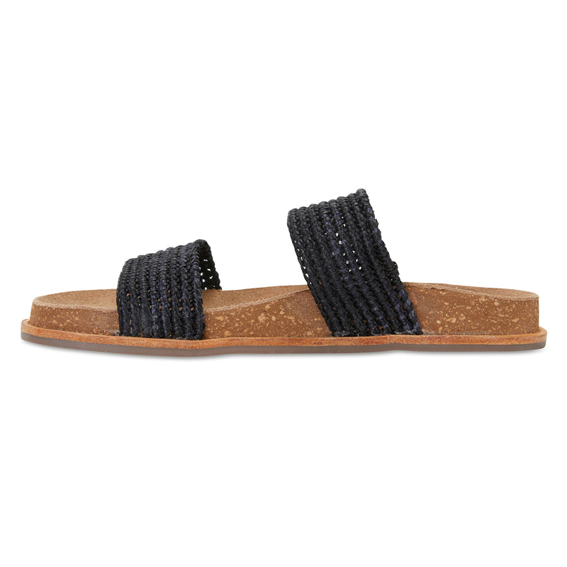 Bindi black raffia womens slide 4
