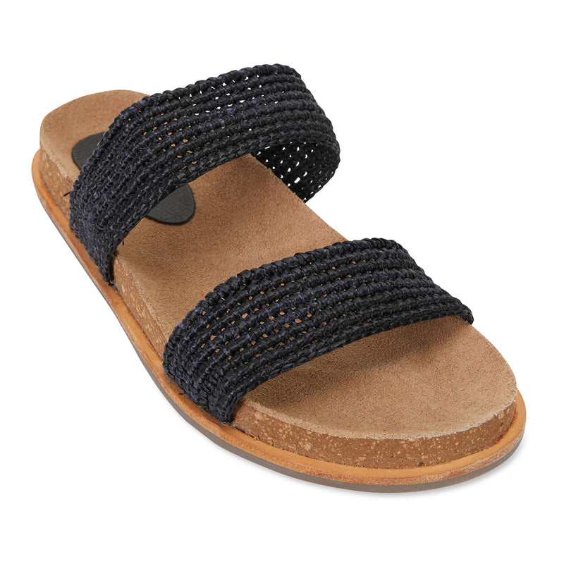 Bindi black raffia womens slide 1