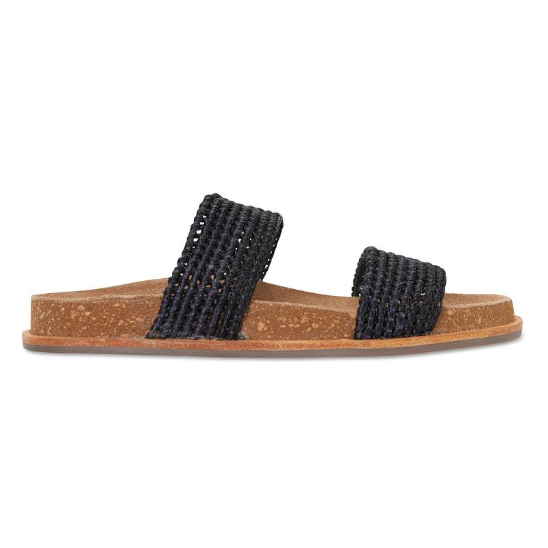 Bindi black raffia womens slide