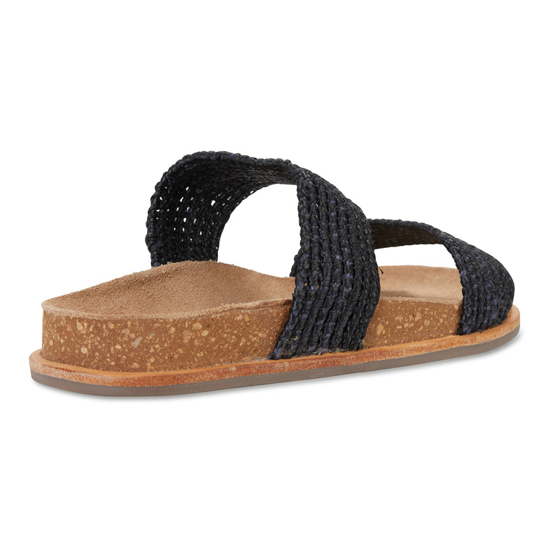 Bindi black raffia womens slide 3