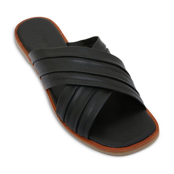 caitlyn black leather pleated crossover slides for women 1
