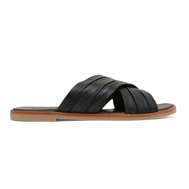 caitlyn black leather pleated crossover slides for women
