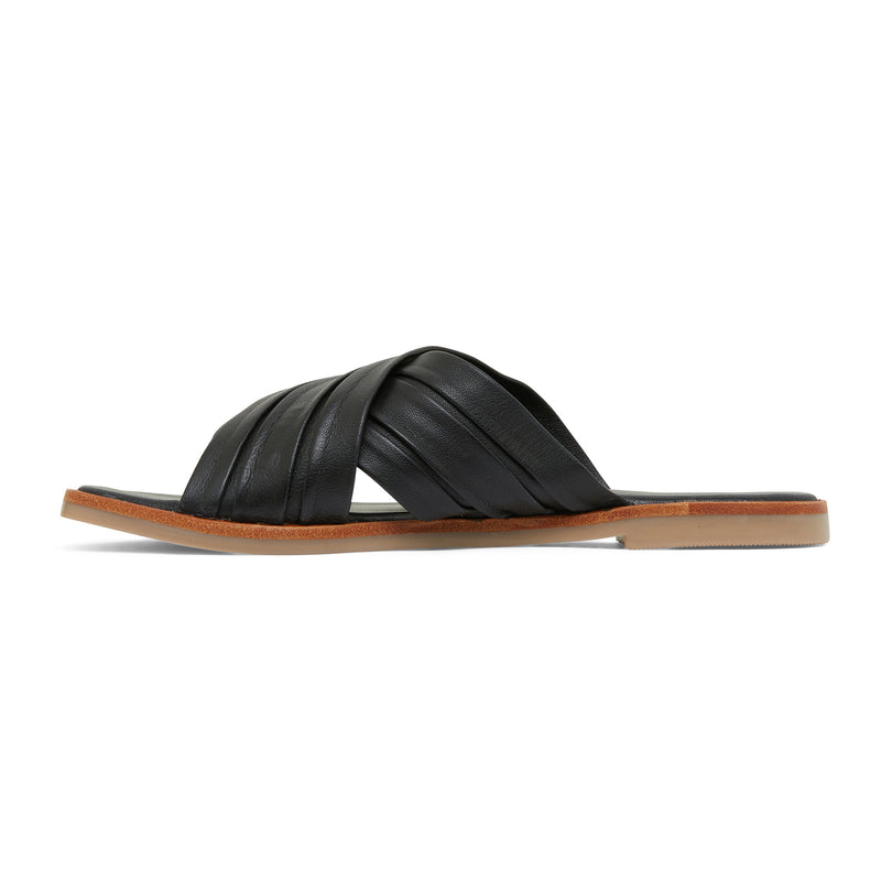 caitlyn black leather pleated crossover slides for women  2