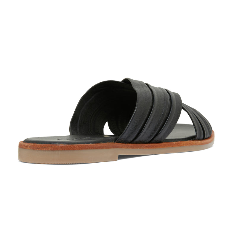 caitlyn black leather pleated crossover slides for women  3
