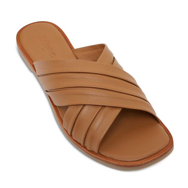 caitlyn cognac leather pleated crossover slides for women  1