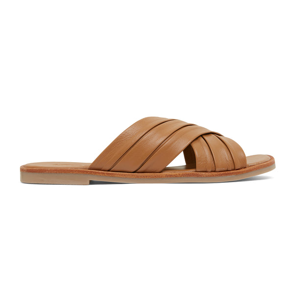 caitlyn cognac leather pleated crossover slides for women