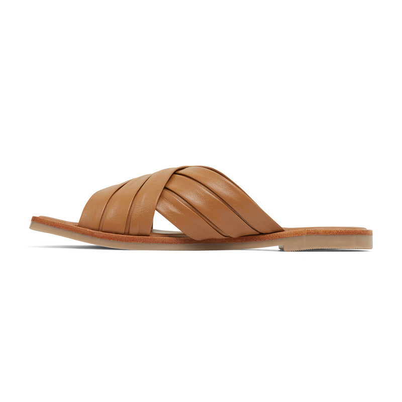 caitlyn cognac leather pleated crossover slides for women  2