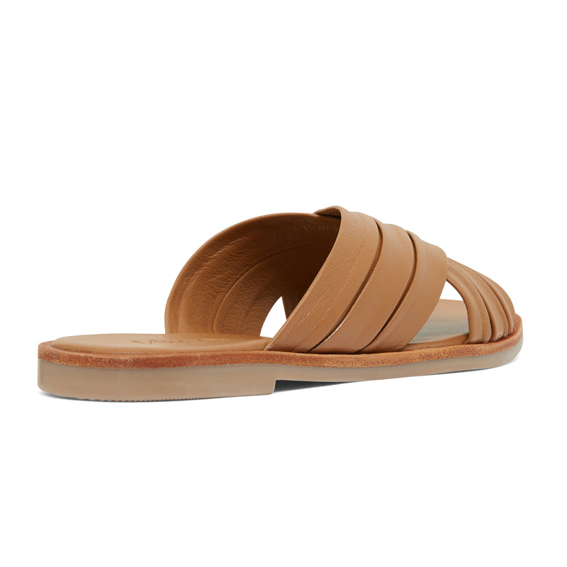 caitlyn cognac leather pleated crossover slides for women  3