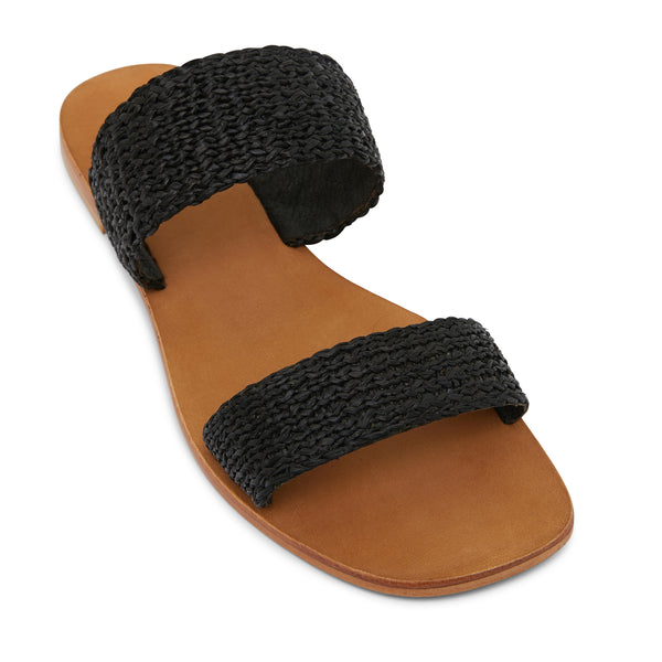 Charlie black raffia double banded womens slides 1