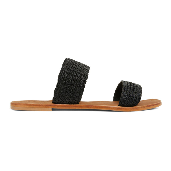 Charlie black raffia double banded womens slides