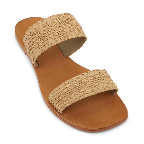 Charlie natural raffia double banded womens slides 1