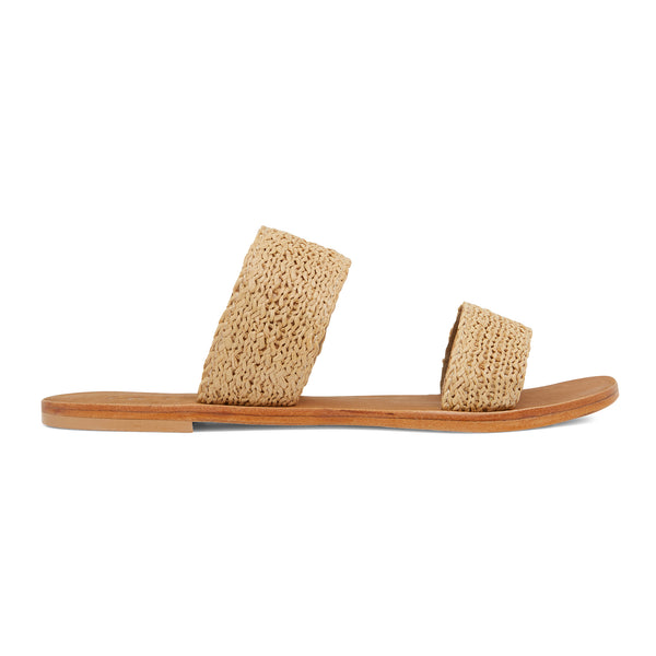 Charlie natural raffia double banded womens slides