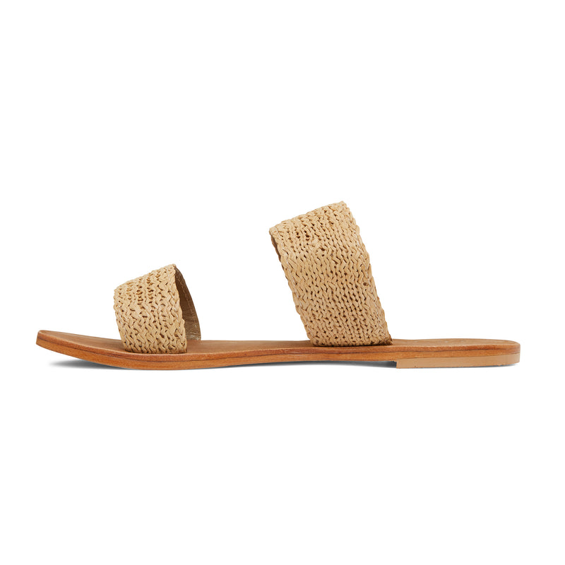 Charlie natural raffia double banded womens slides 2