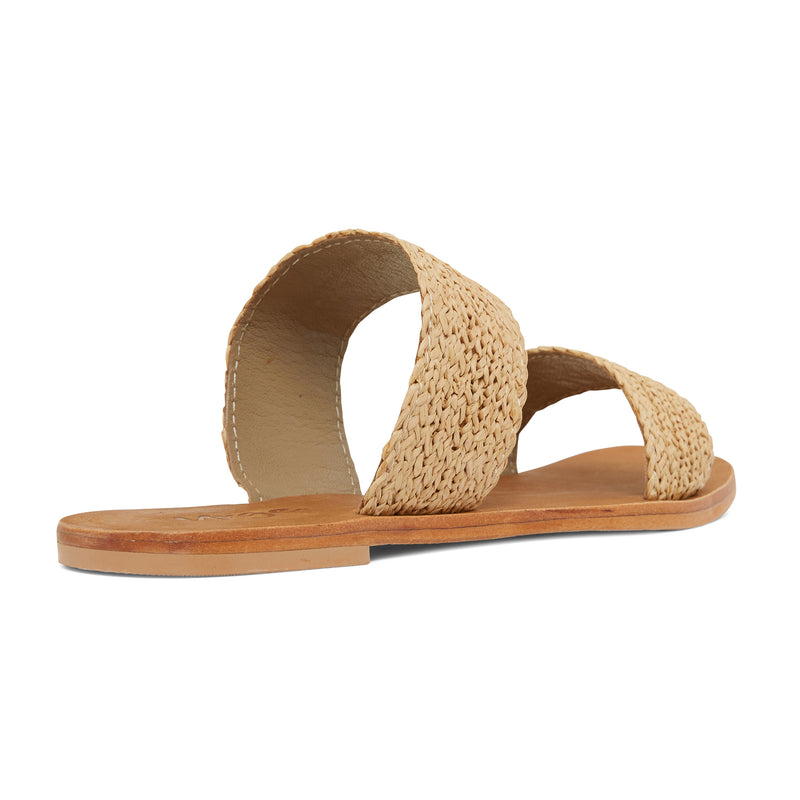 Charlie natural raffia double banded womens slides 3