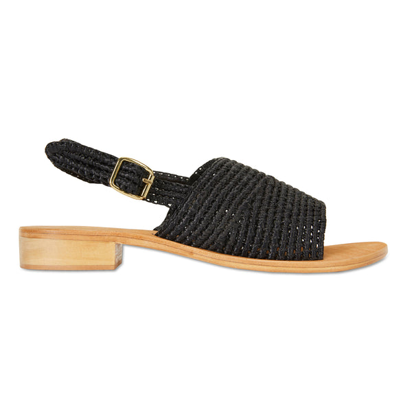 Caley black rattan womens sandal with small heel