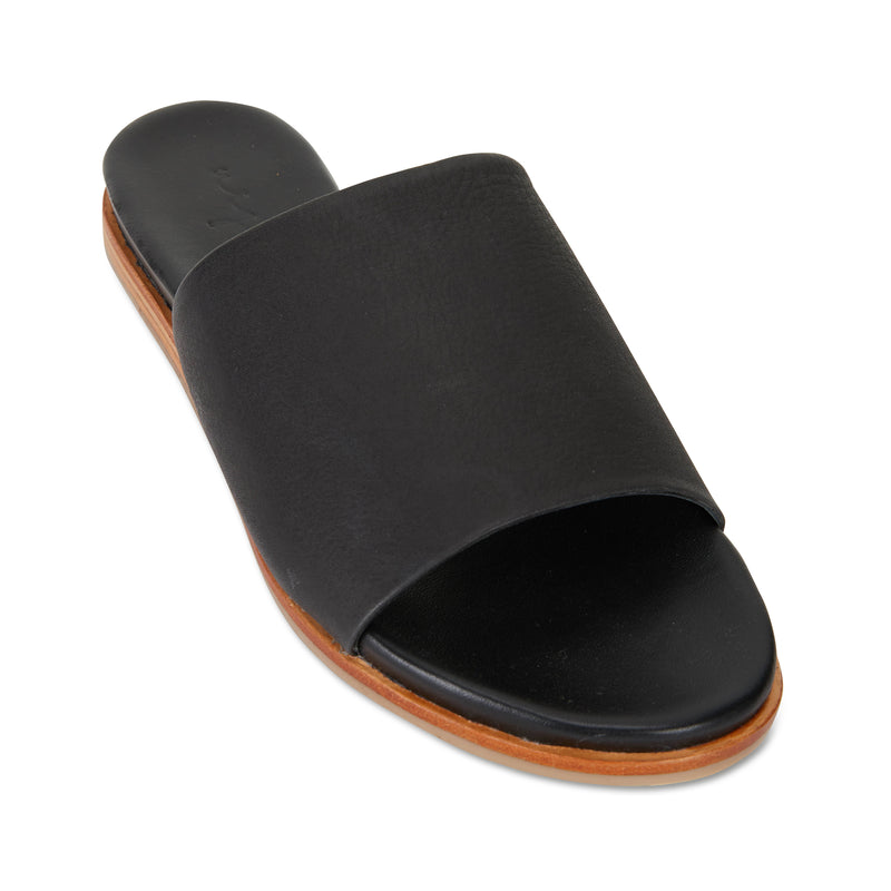 Cara black milled leather slides for women 1